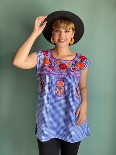 Blue gingham picnic mexican blouse women, multicolor floral embroidered, short sleeve hand embroidered top, fiesta mexican shirt, mexico Mexican Top, Mexican Shirts, Mexican Blouse, Mexican Outfit, Gingham Fabric, Blue Gingham, Fiesta Outfit, Picnic Outfits, Baby Bloomers