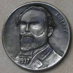 JON DAKE - ROBERT E. LEE - 1937 BUFFALO NICKEL Hobo Nickel, Coin Art, Buffalo, Classic Style, Coins, Artist, Rooms, Artists, Water Buffalo