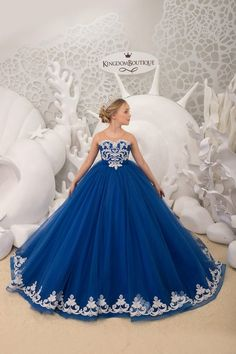 Royal blue and Silver Flower Girl Dress- Birthday Wedding Party Holiday Bridesmaid Flower Girl Royal Blue and Silver Tulle Lace Dress - Ideas Flowers Lace Corset, Tulle Lace, Lace Dress, Dress Long, Girls Pageant Dresses, Little Girl Dresses, Flower Girl Dresses, Purple Flower Girls, Blue Wedding Dresses