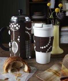 Lovely DIY French press cozy and coffee sleeve.