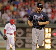 Atlanta Braves' Evan Gattis runs the bases after he hit a two-run home run against the Philadelphia Phillies in the sixth inning of a baseball game Monday, April 14, 2014, in Philadelphia. Atlanta won 9-6.