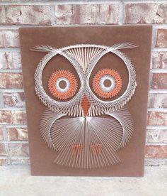 Retro OWL String / Nail Art - 16 x 20 Wall Hanging - Brown Felt Background -  Orange / Cream / Tan  on Etsy, $28.95