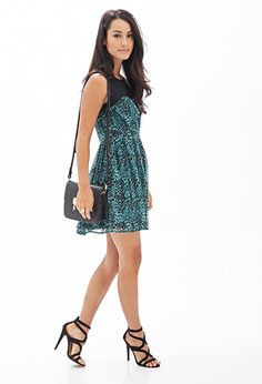 Colorblock Printed A-Line Dress | FOREVER 21 - 2000105151