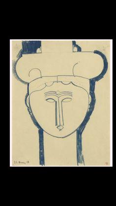 """Amedeo Modigliani - """" Tête de cariatide surmontée d'architecture """", 21 III 1913 - Blue pencil on paper - 33,6 x 26,4 cm"""