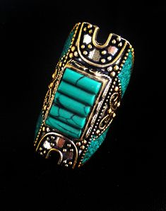Antique Nepal Jewelry,RARE Turquoise Ring,Silver Jewelry,Statement Jewelry,Vintage Tribal Jewelry, ethnic,Tibetan ring by Taneesi by taneesijewelry on Etsy
