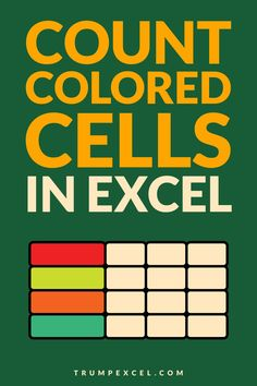 While Excel doesn't have an in-built method to count colored cells in Excel, you can use some hidden formulas and VBA to easily count colored cells in a range in Excel.    This Excel tutorials cover the following methods:  1. Using Filter and SUBTOTAL function  2. Using GET.CELL function  3. Using a Custom Function created using VBA    #Excel #ExcelTips #MSExcel #ExcelFormula #VBA