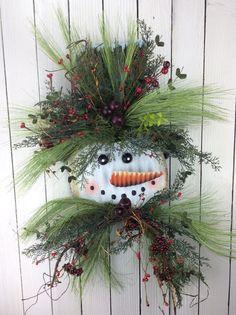 Snowman+Wreath+Winter+Snowman+Wreath+Snowman+Door+Hanger+by+Keleas