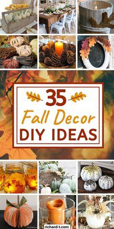 35 Cheap Fall Decor DIY Ideas Vintage Fall Decor, Diy Gifts Cheap, Thanksgiving Diy, Autumn Crafts, Fall Diy, Fall Home Decor, Fall Halloween, Halloween Crafts, Diy Crafts To Sell