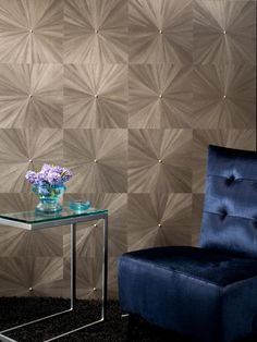 If wood veneer makes you think of dark paneled basements, it's time you saw the light. This wall covering uses ultra-thin blocks of sunburst-patterned veneer on a paper backing and comes in a full palette of soft colors. Diy Wand, Innovation, Focal Wall, Mural Wall Art, Wall Finishes, Blank Walls, Wall Treatments, Scandinavian Interior, Wood Veneer