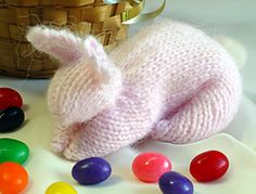 Yarn: Use any slightly fuzzy, smoothly twisted yarn. Jackie's model bunny was knit with about 35 yards of yarn and made a six inch long bunny.