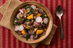 Food plot venison stew - venison stewed with all the elements of a typical deer food plot: rutabagas, radishes, greens, rye and cowpeas.