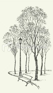 Vector landscape. Park bench near the lantern under trees Royalty Free Stock Vector Art Illustration