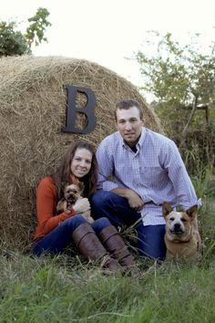 Country engagement photography! Fun for individual family photos on the Conners farm....love the letter on the round bale!