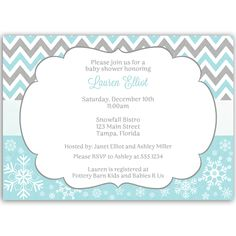 Winter Chevron Pink Baby Shower Invitation - Invite guests to your girl baby shower with simple winter themed invitation featuring pink and white chevron stripes, mirrored by lovely snowflakes. Baby Shower Purple, Simple Baby Shower, Purple Baby, Baby Shower Winter, Pink, Baby Shower Photo Booth, Baby Shower Photos, Baby Shower Parties, Baby Shower Themes