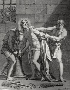 Christ's earthly ministry in the Phillip Medhurst Bible 374 of 550 Jesus is stripped Matthew 27:28 after Poussin on Flickr. A print from the Phillip Medhurst Collection at St. George's Court, Kidderminster.