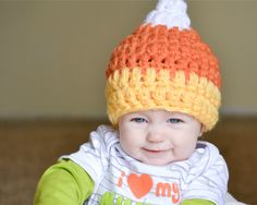 Candy Corn Beanie - Kids Crochet Halloween Hat. $17.50, via Etsy.