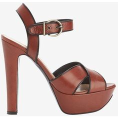 Barbara Bui Cross Strap Platform Leather Sandal (€465) ❤ liked on Polyvore featuring shoes, sandals, brown, leather shoes, high heel platform sandals, cross strap sandals, leather sandals and brown leather sandals