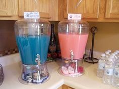 Pink Lemonade and Blue Hawian Punch for a Gender Reveal Party