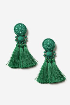 L2017 http://www.topshop.com/en/tsuk/product/bags-accessories-1702216/jewellery-469/green-bead-and-tassel-drop-earrings-6956396?bi=0
