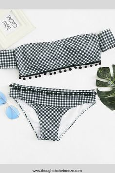 6278c059bc111 Shop Plaid Bardot Top With Pom Pom Decor Panty Bikini online. SheIn offers  Plaid Bardot Top With Pom Pom Decor Panty Bikini   more to fit your  fashionable ...