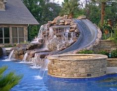 amazing waterfall and water slide for outdoor pool. Wish I could put this in our pool Future House, My House, Dream Pools, Dream Garden, Garden Tub, Garden Paths, My Dream Home, Dream Big, The Great Outdoors