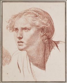 Strength - Study for Le fils punk by Jean-Baptiste Greuze (1776–1778); Red chalk on paper; h. 15 in. (38.1 cm); w. 12 in. (30.5 cm).  Exhibited at San Antonio Museum of Art.
