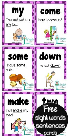 50 FREE sight words sentences cards  with pictures for kindergarten and first grade. Sight Words Printables, Sight Word Worksheets, Reading Worksheets, Preschool Worksheets, Free Printables, Preschool Sight Words, Sight Word Activities, Phonics Activities, Classroom Activities