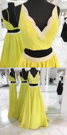 yellow prom dress, 2017 prom dress, two piece prom dress, long prom dress