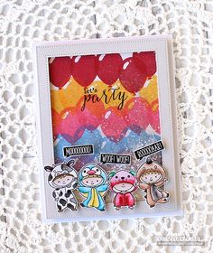 A fun birthday shaker card with the Clearly Besotted Let's Party & All In Onesie stamp sets!