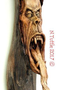 ORIGINAL-WOOD-SPIRIT-CARVING-HORROR-MONSTER-GHOUL-SCREAM-HALLOWEEN-NANCY-TUTTLE