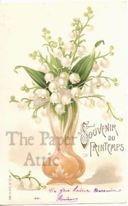 Lily of the Valley & Art Nouveau Vase Antique Vtg French Chromo EARLY Postcard