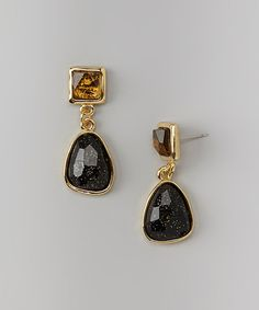 Take a look at this Black & Gold Lucite Drop Earrings by Majestic on #zulily today!
