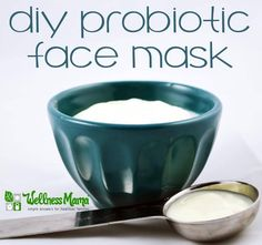 This probiotic face mask uses organic yogurt and optional added probiotics, turmeric or oils to moisturize the face and improve the skin biome.