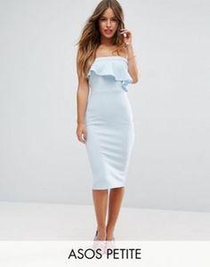 ASOS PETITE Textured Bandeau Asymmetric Ruffle Midi Dress