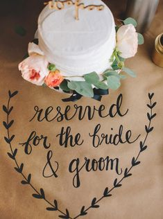Awesome DIY idea for using a Sharpie on kraft paper for wedding signage and decor!