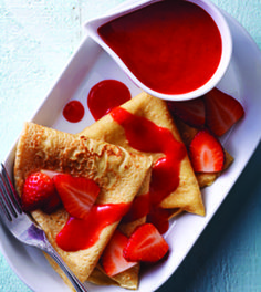 Whole-Wheat French Crepes with Fresh Strawberry Sauce