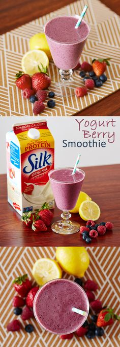 An infusion of vanilla, Silk Soymilk, frozen mixed berries, Silk Vanilla Dairy-Free Yogurt Alternative, and a splash of lemon juice give rich flavor to this low-fat Yogurt Berry Smoothie! Don't forget to save some strawberries as a garnish.