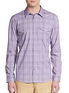 Calvin Klein Regular-Fit Tonal Plaid Cotton Sportshirt - Purple - Size