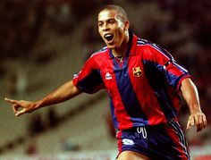 """Ronaldo Luís Nazário, born 18 September 1976, commonly known as Ronaldo, Brazilian striker. Popularly dubbed """"the phenomenon"""", Considered by many one of the best strikers of all time, in 2007 he was named in the greatest ever starting eleven by France Football magazine. Cruzeiro (1993–1994), PSV Eindhoven (1984-1996), FC Barcelona (1996-1997, 34 goals, 37 appearances), Inter Milan (1997–2002), Real Madrid (2002-2007), AC Milan (2007-2008), Corinthians (2009-2011). He won the Ballon d'Or…"""