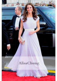 Kate Middleton Lavender Chiffon Evening Prom Gown Celebrity Dress BAFTA 2011