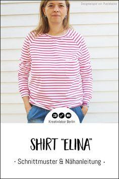 "Neues Schnittmuster: Shirt ""Elina"" - Kreativlabor Berlin Raglan Shirts, Pullover, Diy, Tops, Women, Fashion, Striped Fabrics, Shell Tops, Stripes"