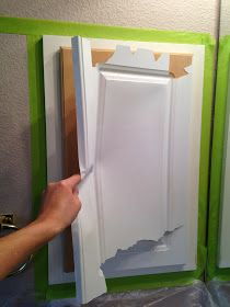 The ragged wren : Painting Laminated Cabinets ~ this is a how to with the laminate being pulled off, then painted.