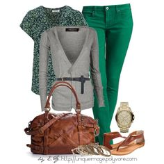 """""""Green Skinny Jean"""" by uniqueimage on Polyvore - not sure about the green pants, but I like this"""