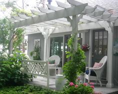 Pergola designs are variate and they each serve their users in different ways. So what is a pergola anyway? There are several types and various pergola plans, the open top type being the most popular one. Diy Pergola, Veranda Pergola, Front Porch Pergola, Pergola Attached To House, Pergola Swing, Deck With Pergola, Outdoor Pergola, Wooden Pergola, Pergola Shade