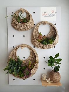 Good No Cost Crochet basket planter Thoughts Handmade Crochet Jute Wall Hanging Baskets On Wall, Hanging Baskets, Wall Basket, Hanging Wall Planters, Basket Planters, Crochet Wall Hangings, Fleurs Diy, Crochet Pouch, Deco Originale