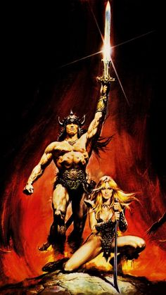 Conan The Barbarian painting by Renato Casaro -- Pic found on Arts Backstage. Beautiful Fantasy Art, Dark Fantasy Art, Fantasy Artwork, Frank Frazetta, Conan The Barbarian Movie, Conan Comics, Sword And Sorcery, Movie Poster Art, Vintage Horror