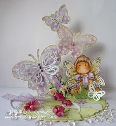 Jane's Lovely Cards: Just Magnolia and hAnglar & sTanglar challenge DT - Buttons, Bows and Bling