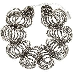 Night Market Beaded Ruffle Necklace ($218) ❤ liked on Polyvore featuring jewelry, necklaces, metallic, silver tone necklace, beaded jewelry, beading jewelry, bead jewellery and metallic jewelry