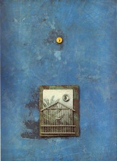 'Sanctuary' by Max Ernst, oil and collage on wood, 1965.