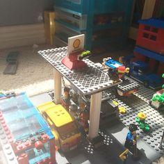 Next renovation project! Wider roof on the gas station #Lego #Legos #legocar #legomoc #legocity #legobuild